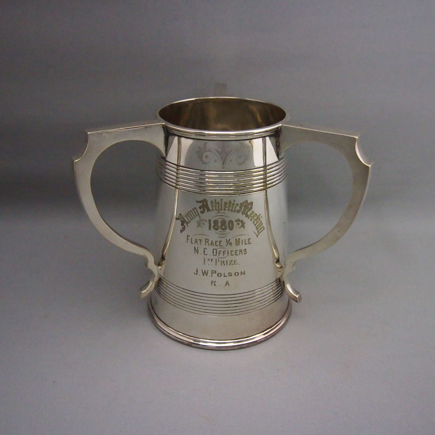 Antique Silver Plated Tyg Three Handled Cup, W8665