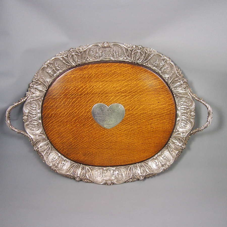 Large Antique Oak & Silver Plated Militaty Decorated Tray . W8639