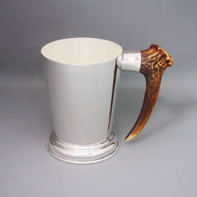 Vintage Silver Plate & Stag Horn Mug , W8669