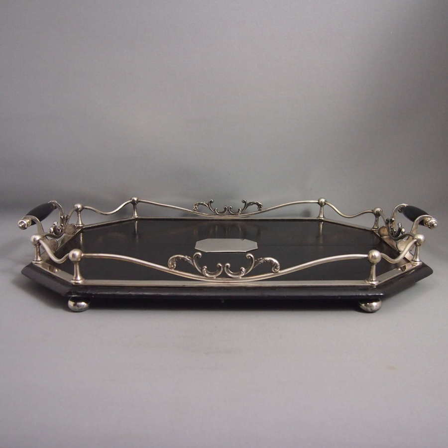 Oblong Antique Ebonised Wood & Plated Tray W8675